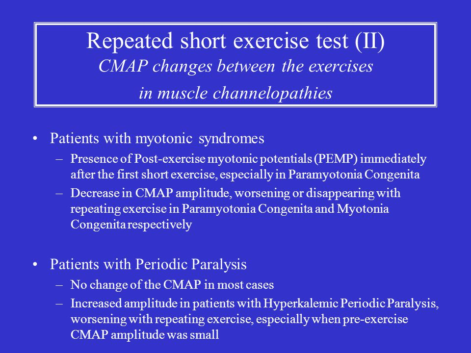 Repeated short exercise test (II) CMAP changes between the exercises in muscle channelopathies