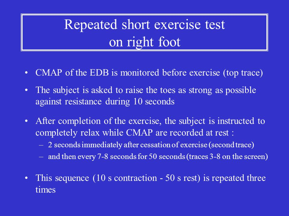Repeated short exercise test on right foot