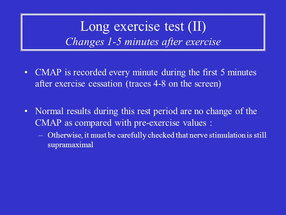 Long exercise test (II) Changes 1-5 minutes after exercise