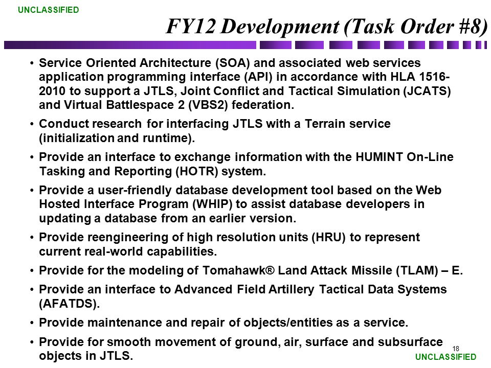 FY12 Development (Task Order #8)