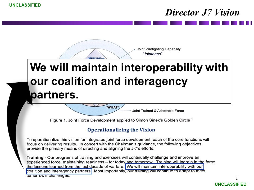 Director J7 Vision We will maintain interoperability with our coalition and interagency partners.