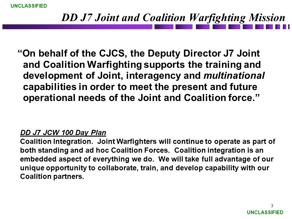DD J7 Joint and Coalition Warfighting Mission
