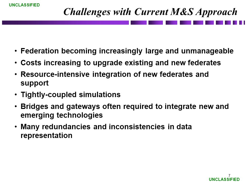 Challenges with Current M&S Approach
