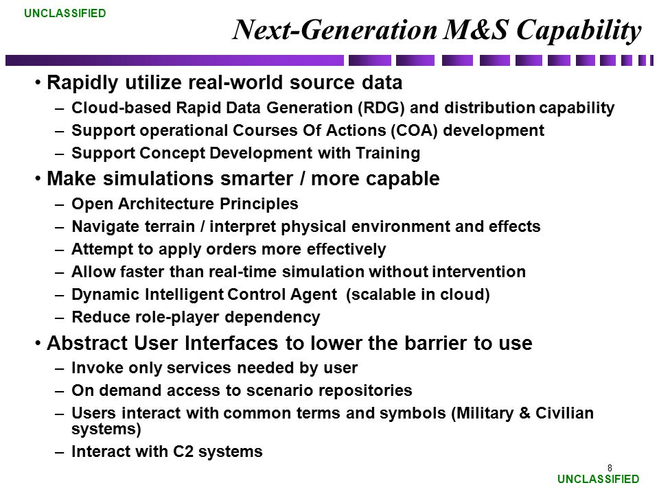 Next-Generation M&S Capability