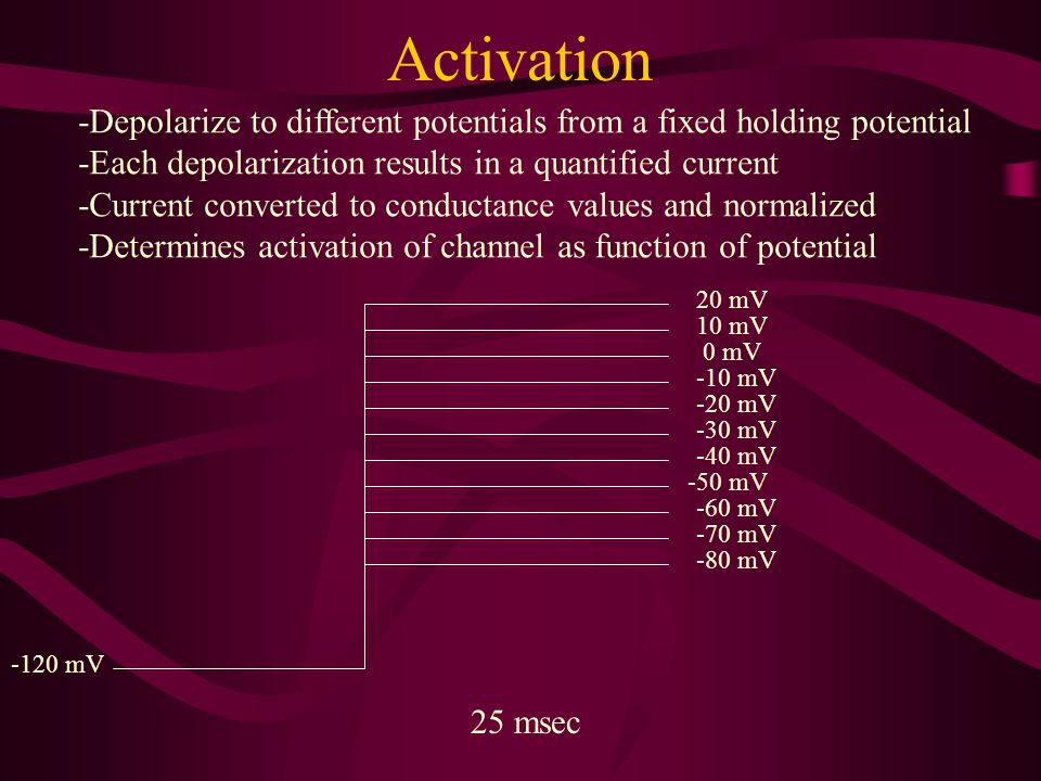 Activation -Depolarize to different potentials from a fixed holding potential. -Each depolarization results in a quantified current.