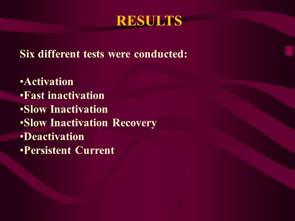RESULTS Six different tests were conducted: Activation