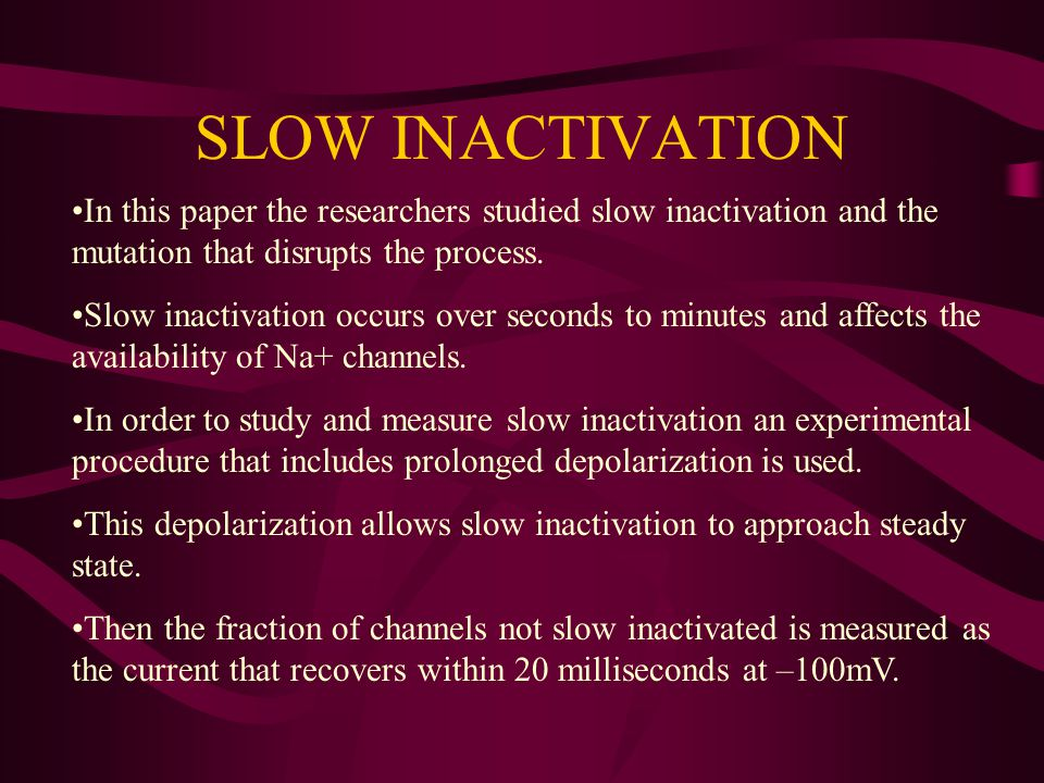 SLOW INACTIVATION In this paper the researchers studied slow inactivation and the mutation that disrupts the process.