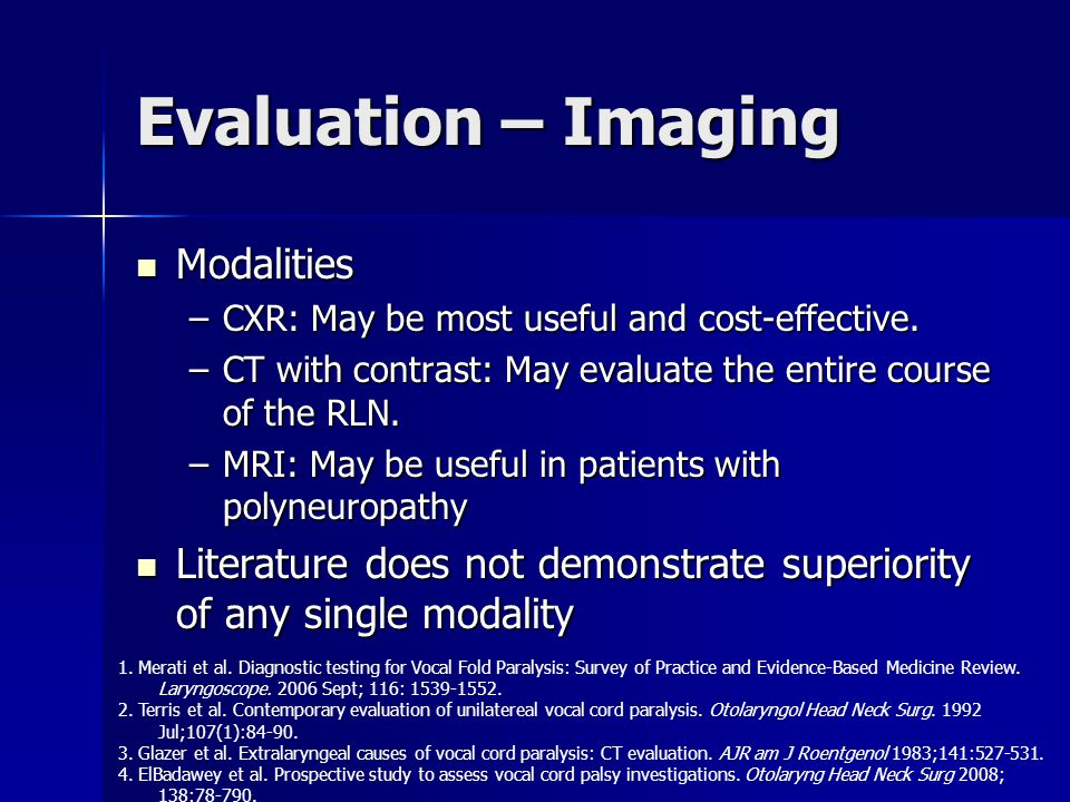 Evaluation – Imaging Modalities