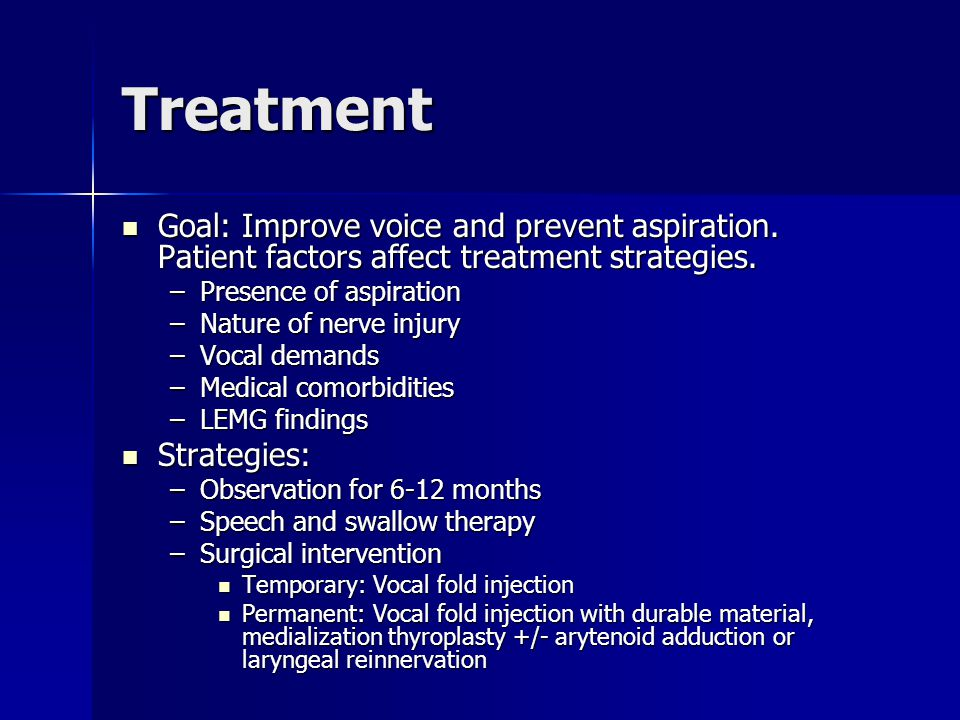 Treatment Goal: Improve voice and prevent aspiration. Patient factors affect treatment strategies.