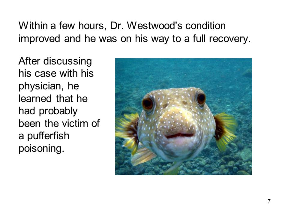 Within a few hours, Dr. Westwood s condition improved and he was on his way to a full recovery.