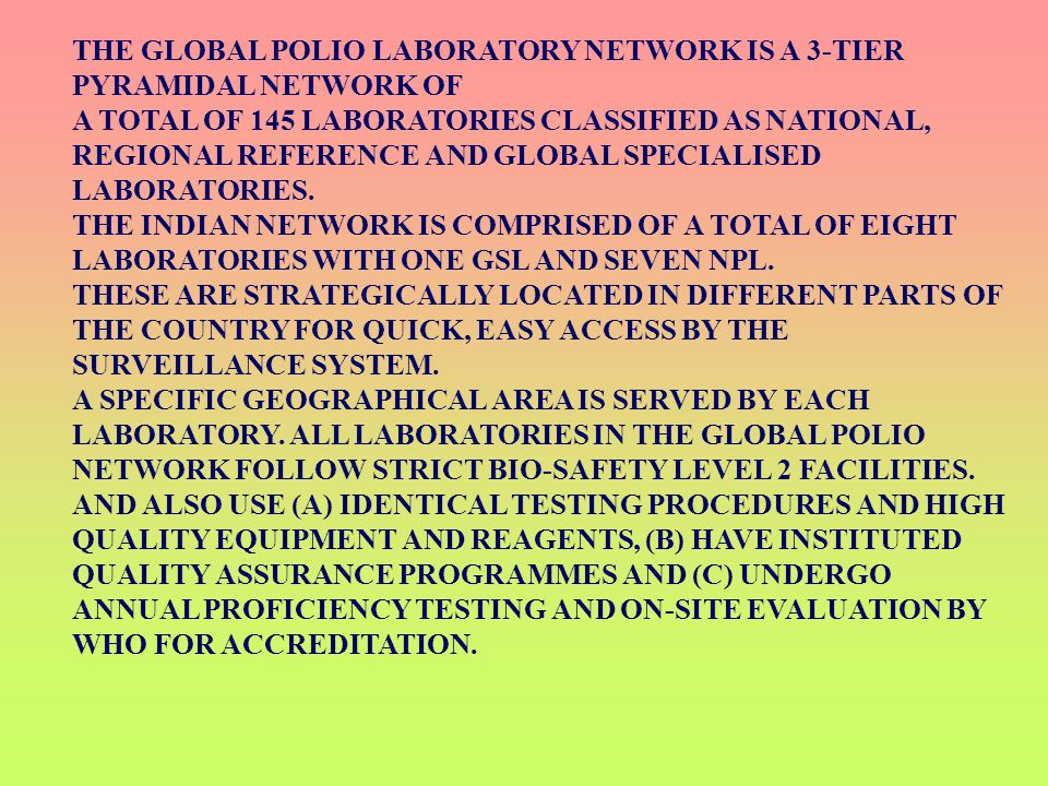 THE GLOBAL POLIO LABORATORY NETWORK IS A 3-TIER PYRAMIDAL NETWORK OF