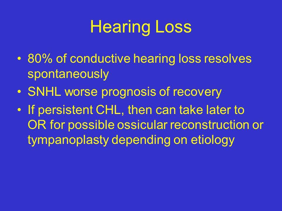 Hearing Loss 80% of conductive hearing loss resolves spontaneously