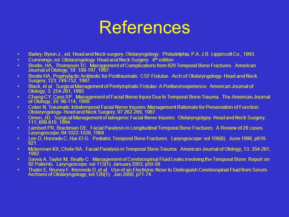 References Bailey, Byron J., ed. Head and Neck surgery- Otolaryngology. Philadelphia, P.A. J.B. Lippincott Co., 1993.