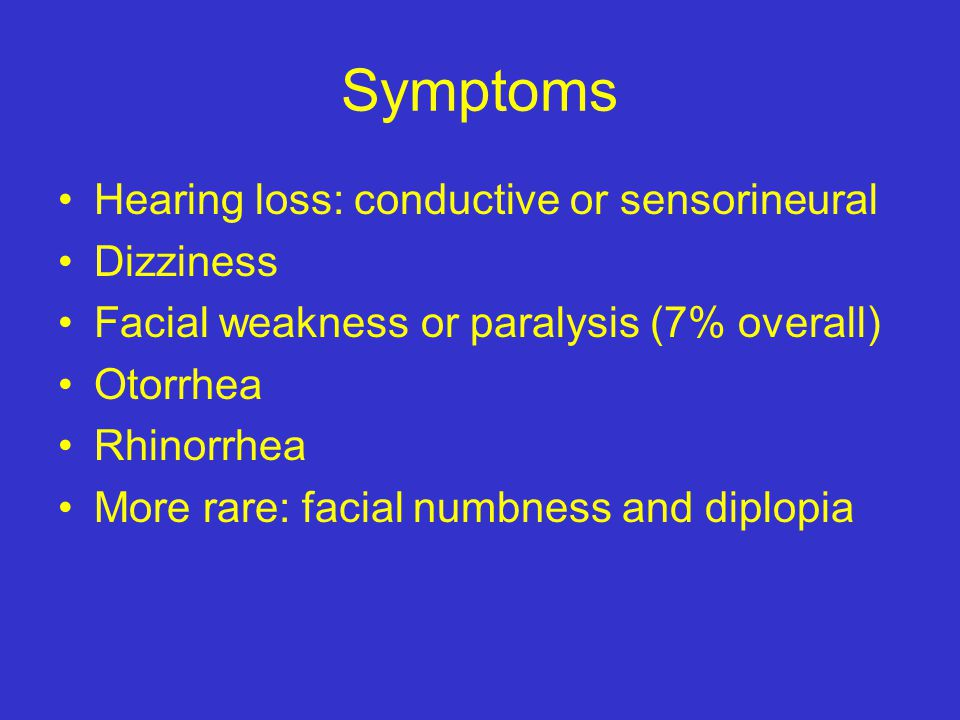 Symptoms Hearing loss: conductive or sensorineural Dizziness