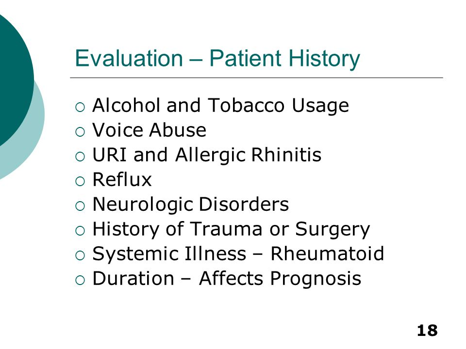 Evaluation – Patient History