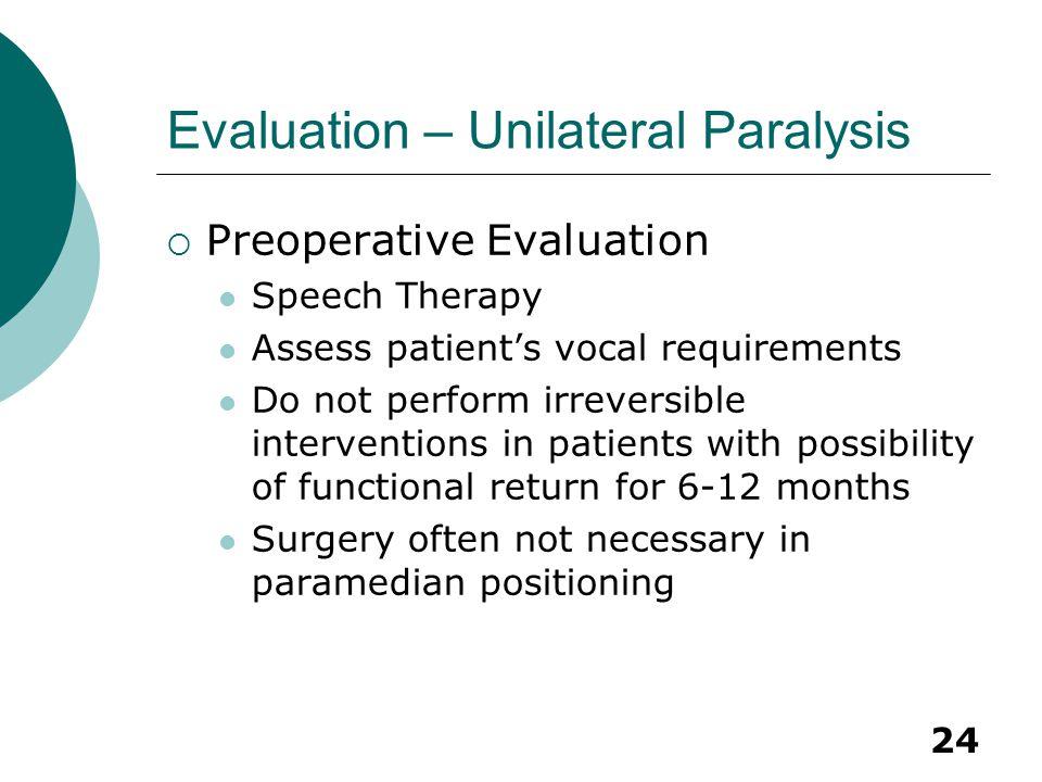 Evaluation – Unilateral Paralysis