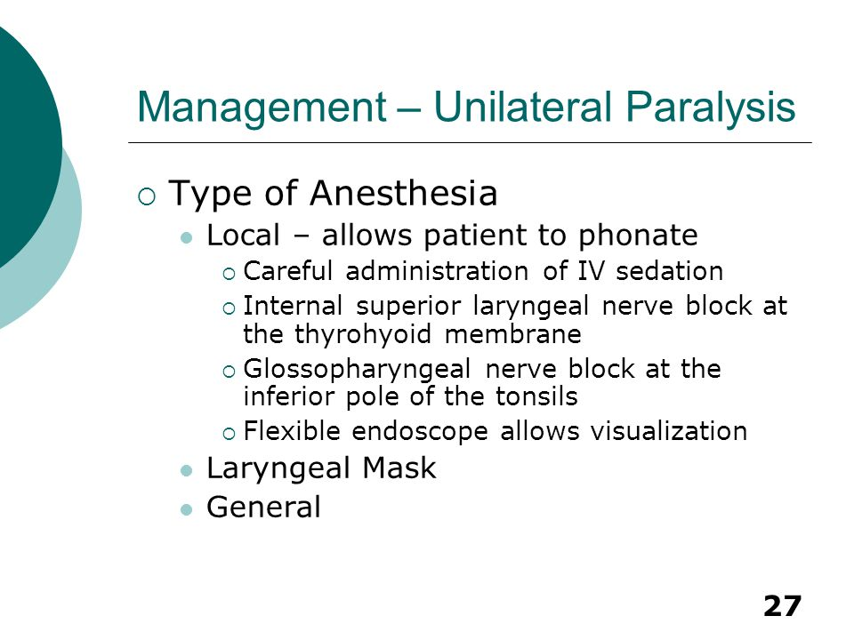 Management – Unilateral Paralysis