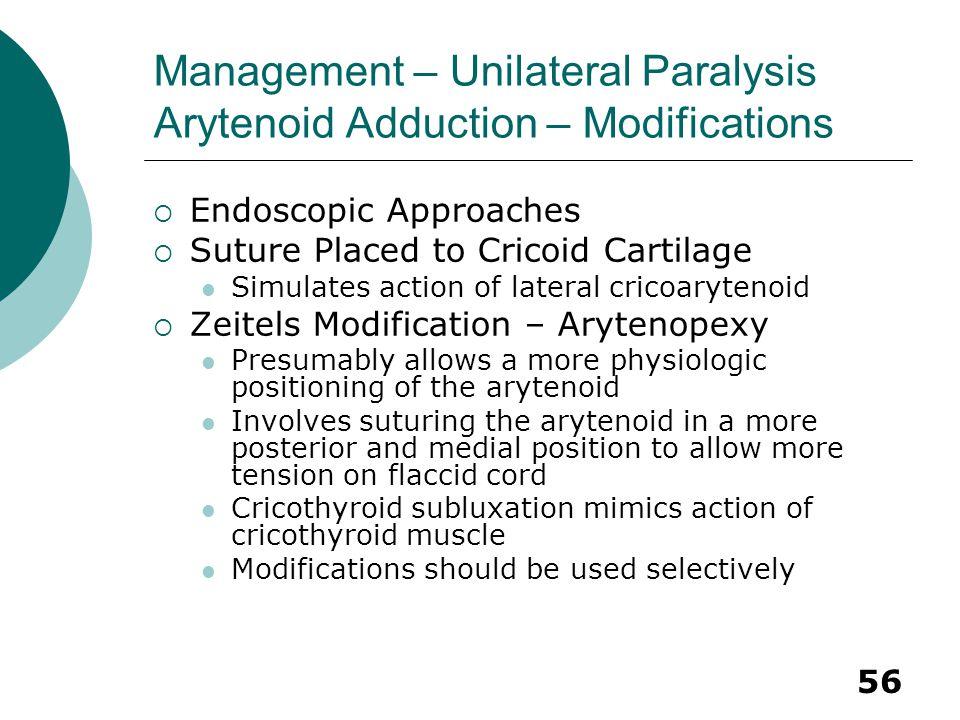 Management – Unilateral Paralysis Arytenoid Adduction – Modifications