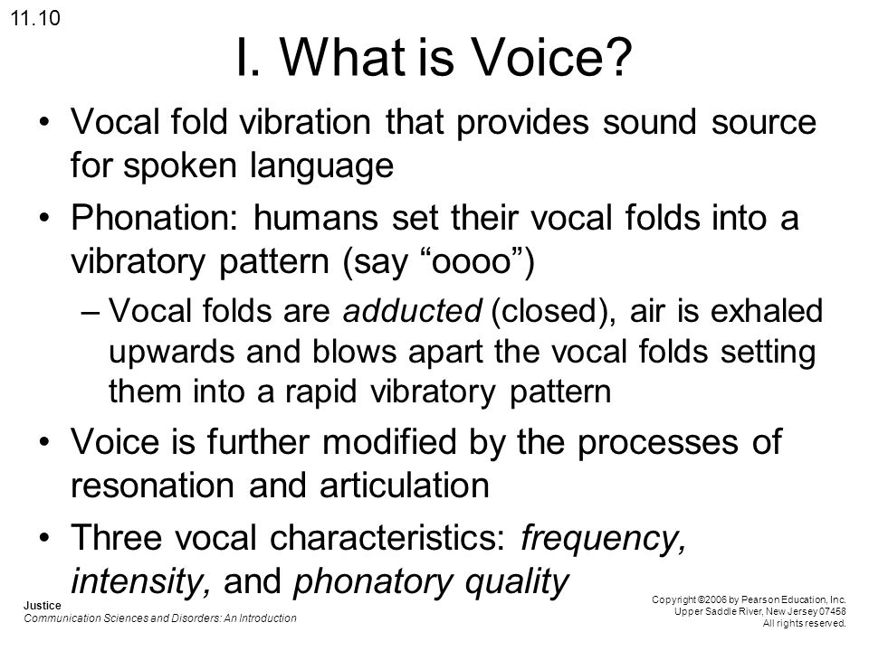 11.10 I. What is Voice Vocal fold vibration that provides sound source for spoken language.
