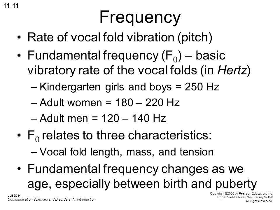 Frequency Rate of vocal fold vibration (pitch)