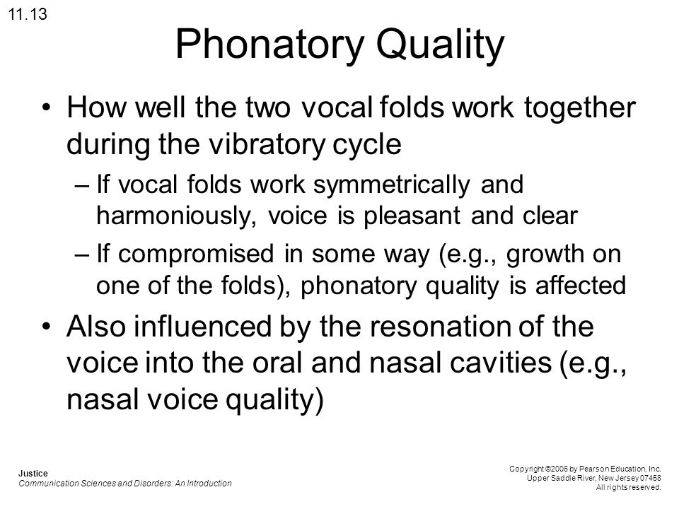 11.13 Phonatory Quality. How well the two vocal folds work together during the vibratory cycle.