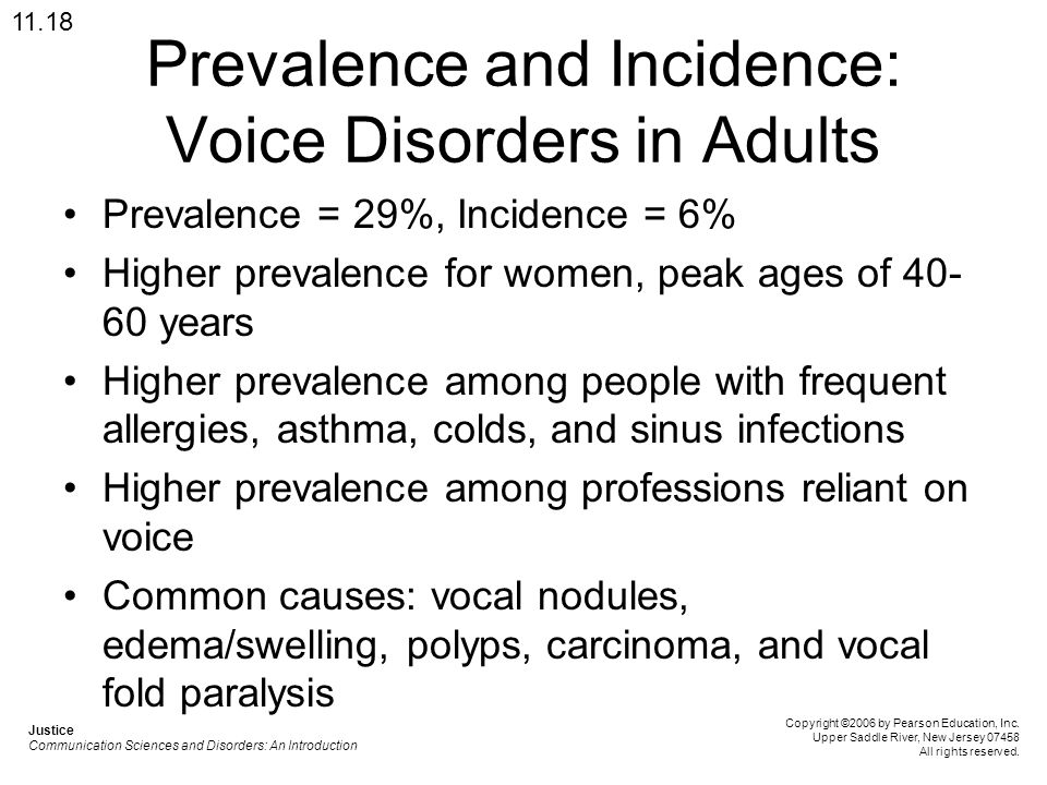 Prevalence and Incidence: Voice Disorders in Adults