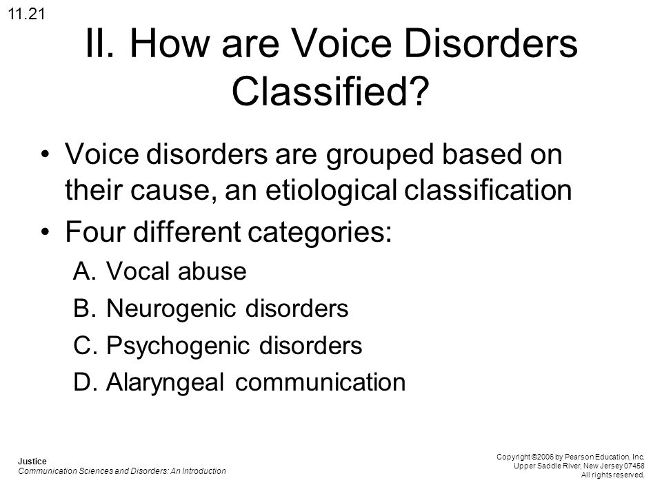 II. How are Voice Disorders Classified