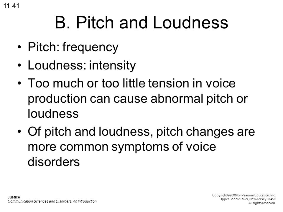 B. Pitch and Loudness Pitch: frequency Loudness: intensity