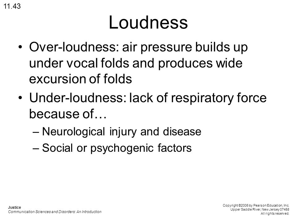 11.43 Loudness. Over-loudness: air pressure builds up under vocal folds and produces wide excursion of folds.