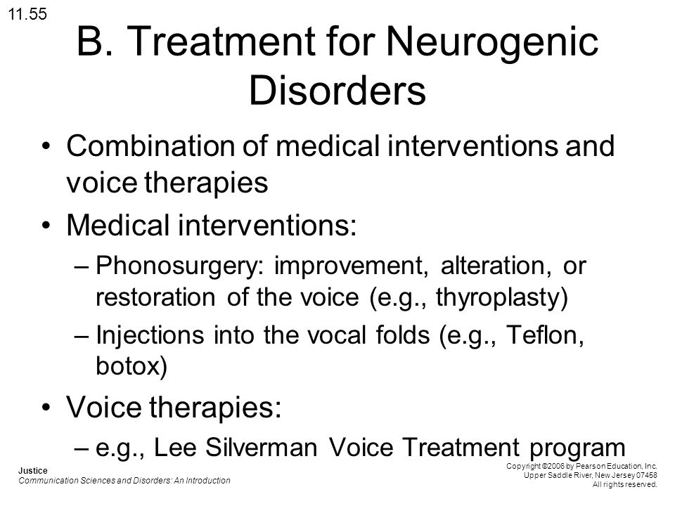 B. Treatment for Neurogenic Disorders