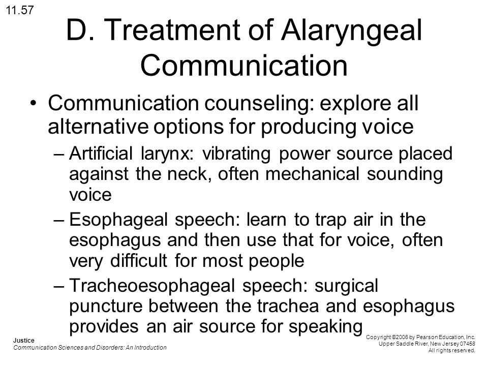 D. Treatment of Alaryngeal Communication