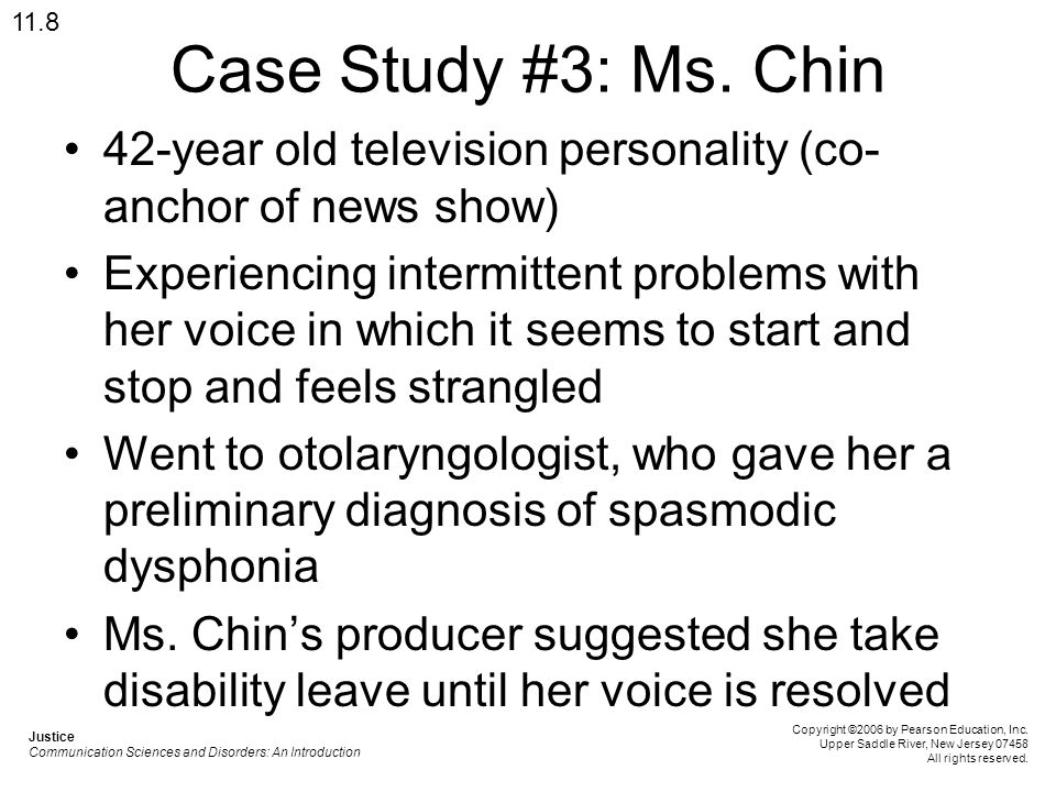 11.8 Case Study #3: Ms. Chin. 42-year old television personality (co-anchor of news show)