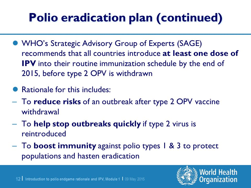 Polio eradication plan (continued)