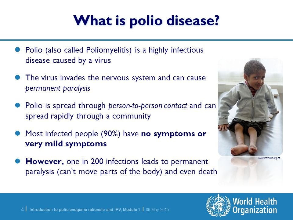 What is polio disease Polio (also called Poliomyelitis) is a highly infectious disease caused by a virus.