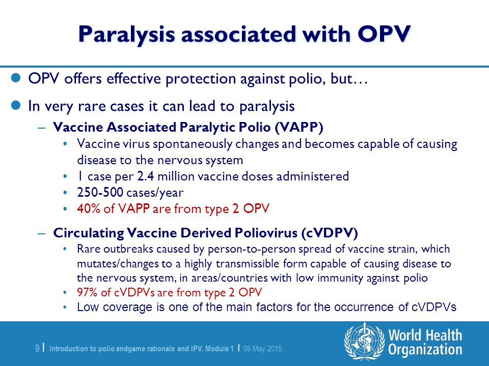 Paralysis associated with OPV