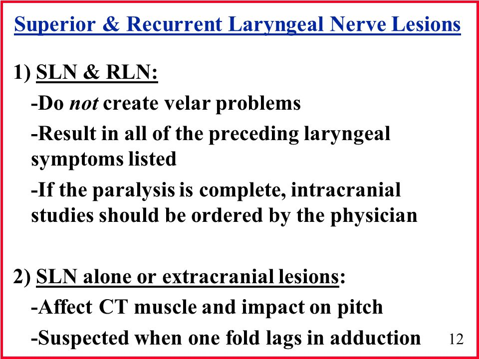Superior & Recurrent Laryngeal Nerve Lesions