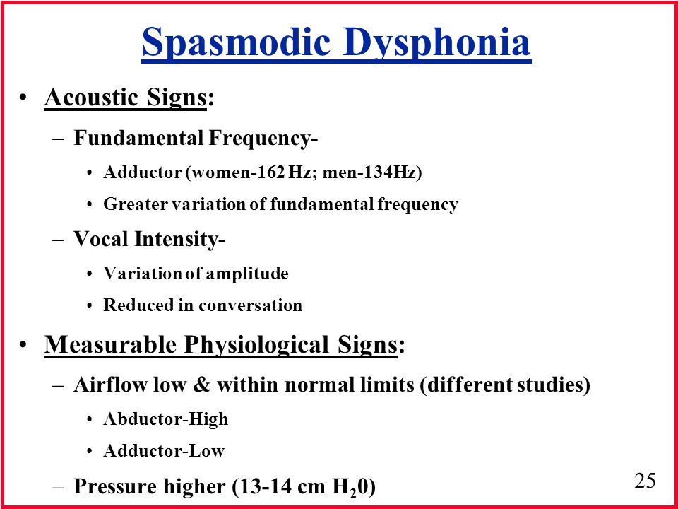 Spasmodic Dysphonia Acoustic Signs: Measurable Physiological Signs: