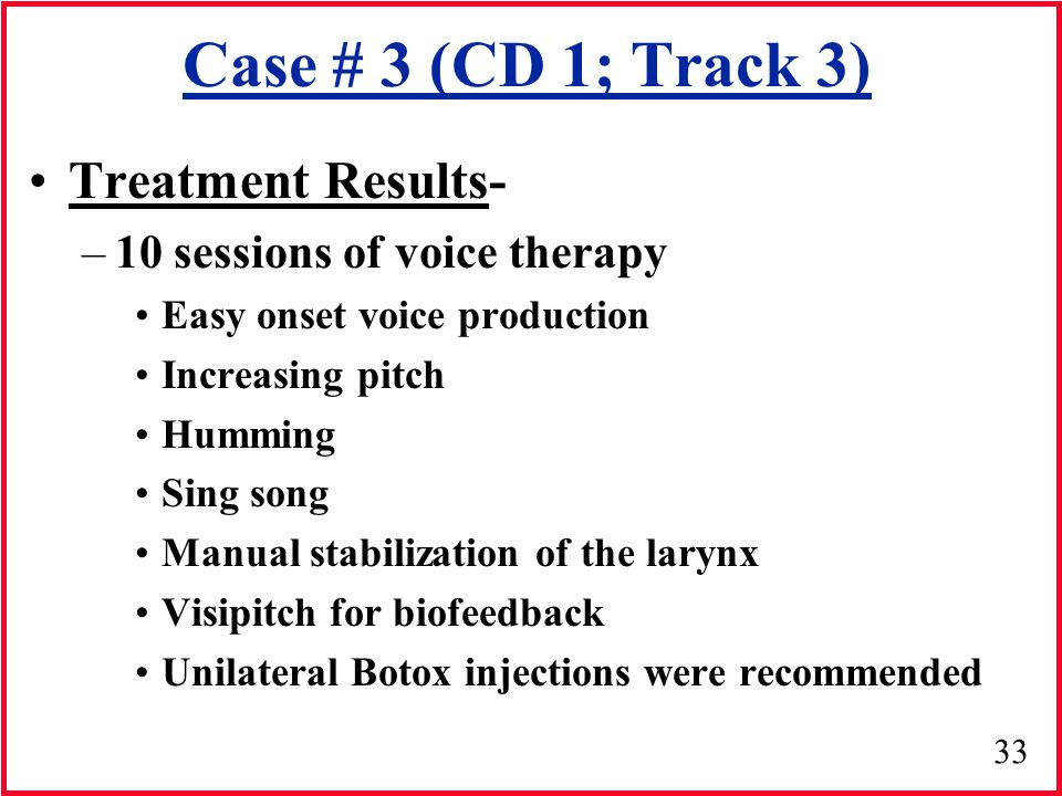 Case # 3 (CD 1; Track 3) Treatment Results-