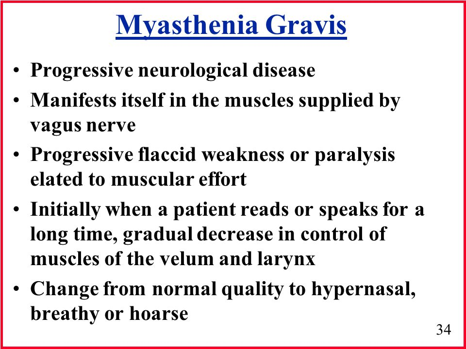 Myasthenia Gravis Progressive neurological disease