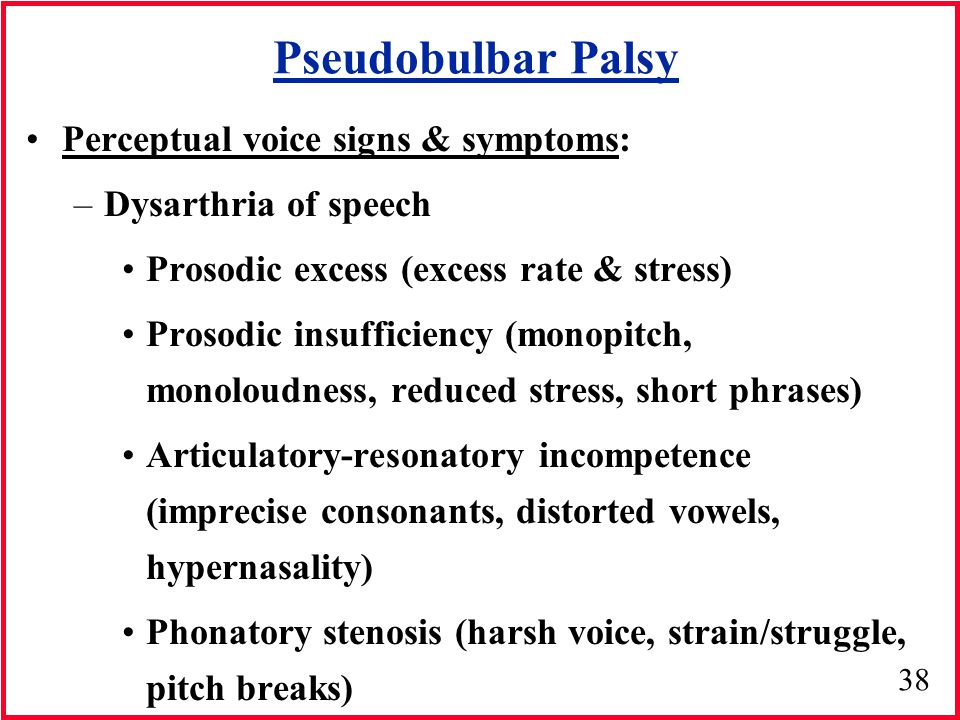 Pseudobulbar Palsy Perceptual voice signs & symptoms:
