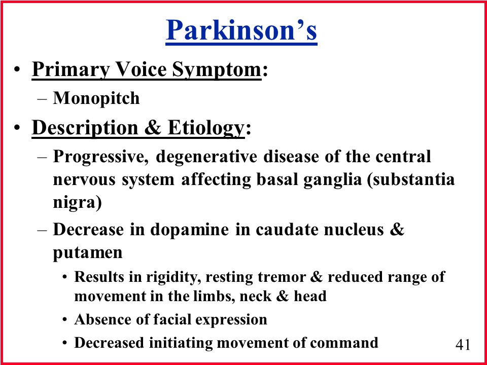 Parkinson's Primary Voice Symptom: Description & Etiology: Monopitch