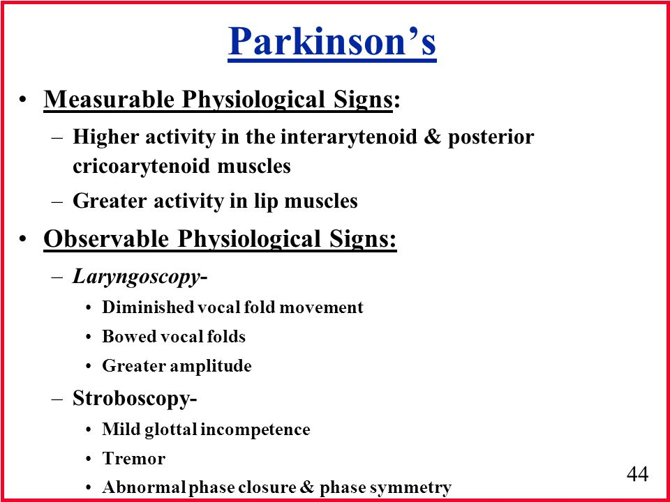 Parkinson's Measurable Physiological Signs: