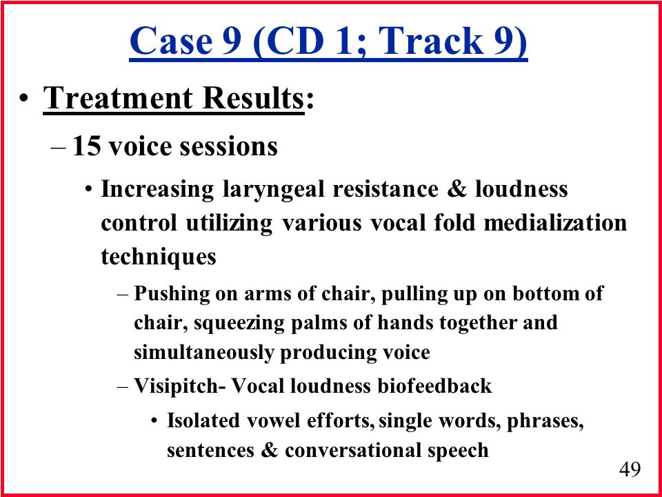 Case 9 (CD 1; Track 9) Treatment Results: 15 voice sessions