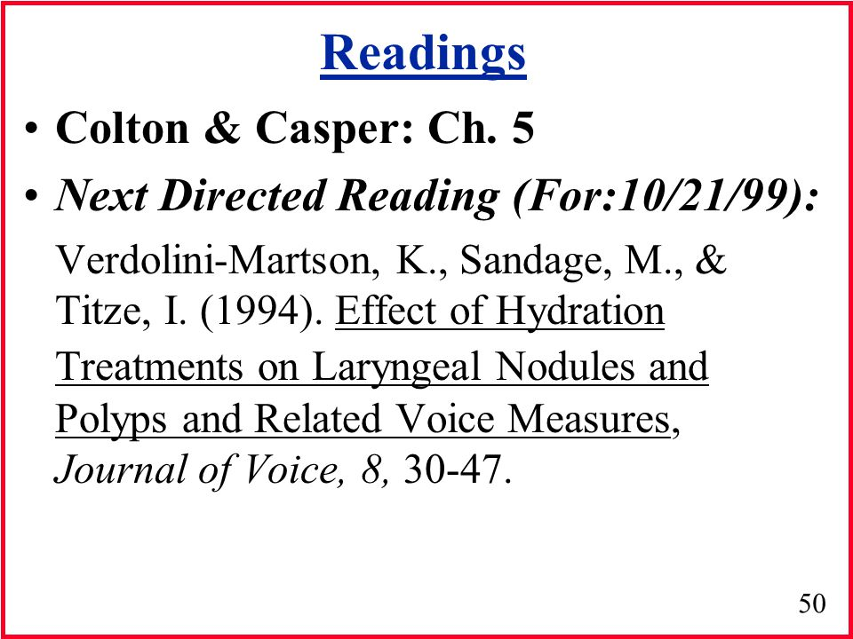 Readings Colton & Casper: Ch. 5 Next Directed Reading (For:10/21/99):