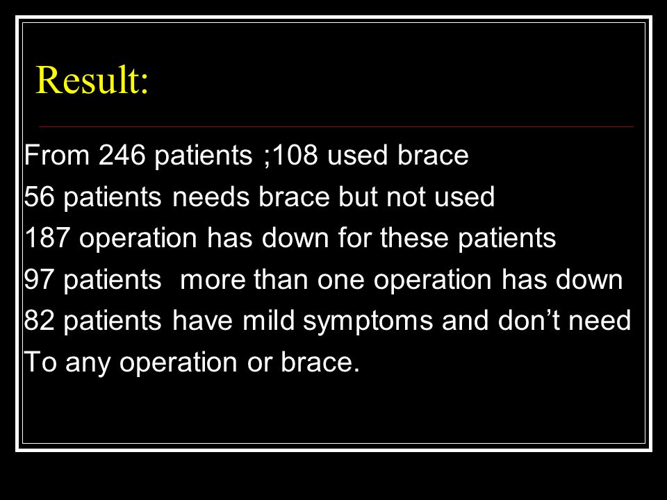 Result: From 246 patients ;108 used brace