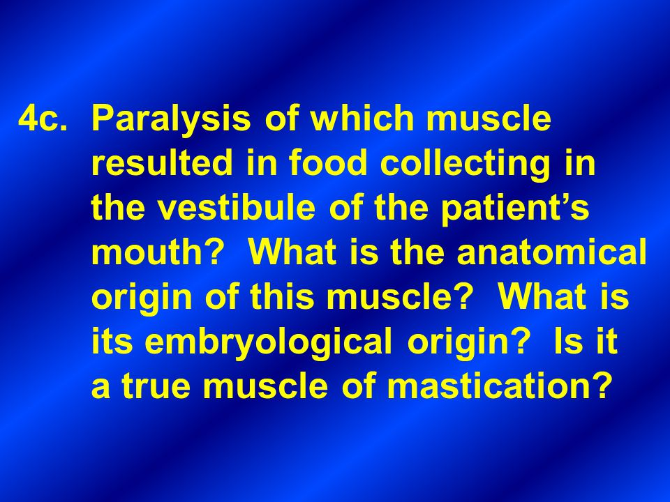 4c. Paralysis of which muscle resulted in food collecting in