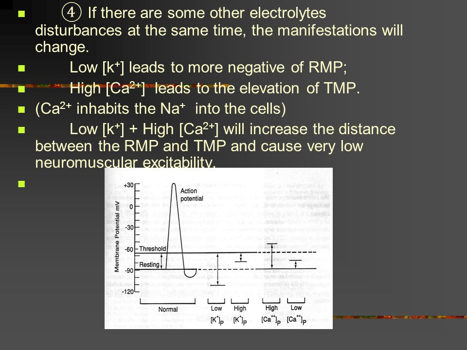 ④ If there are some other electrolytes disturbances at the same time, the manifestations will change.