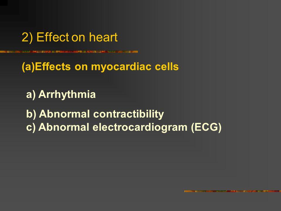 2) Effect on heart (a)Effects on myocardiac cells