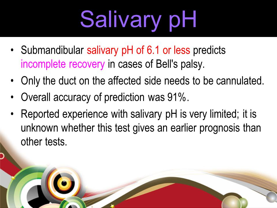 Salivary pH Submandibular salivary pH of 6.1 or less predicts incomplete recovery in cases of Bell s palsy.