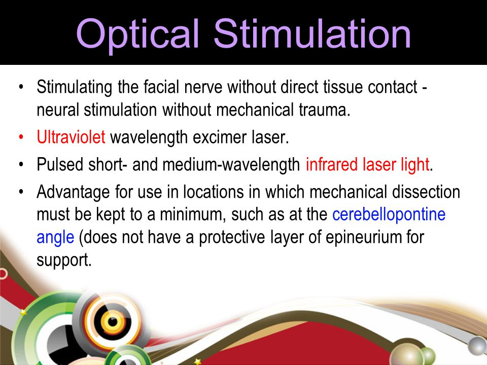 Optical Stimulation Stimulating the facial nerve without direct tissue contact - neural stimulation without mechanical trauma.